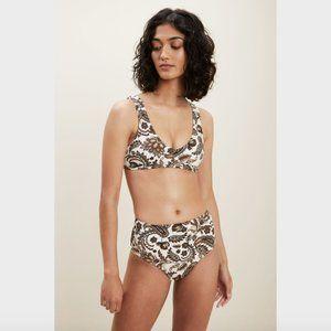 Seed Heritage Tan Paisley Print Bikini XS 6-8